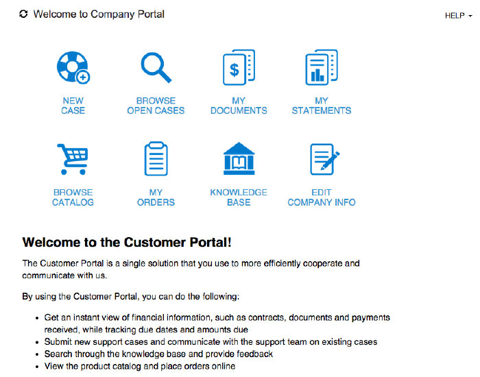 Acumatica 5.20 Customer Portal Welcome Page